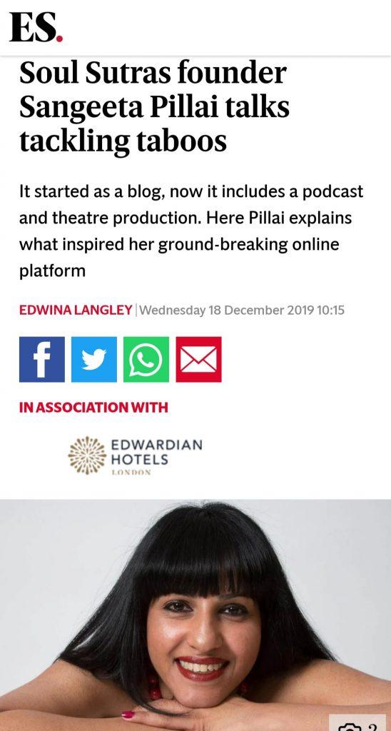 Sangeeta Pillai, The Evening Standard