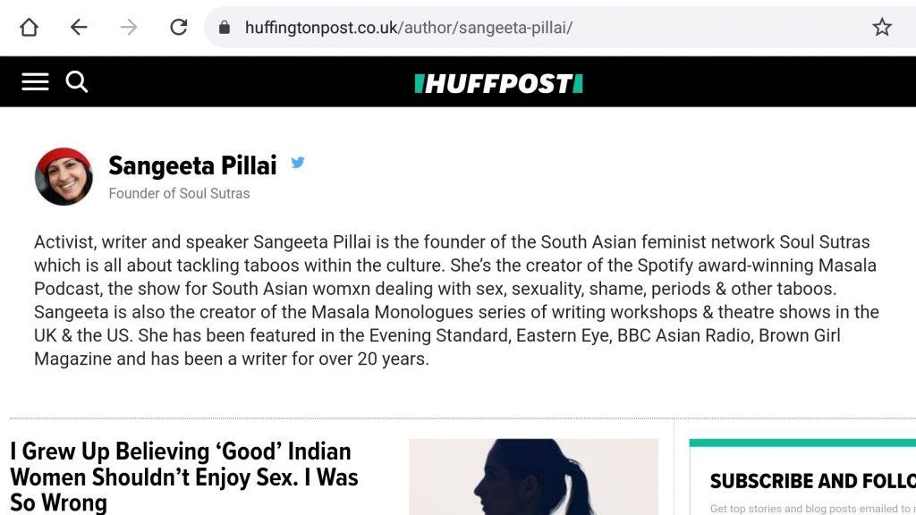 Sangeeta Pillai, Huffington Post