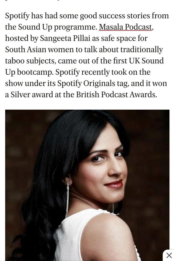 Sangeeta Pillai wins Spotify SoundUp competition in 2018