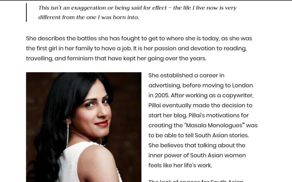 Sangeeta Pillai, Brown Girl Magazine